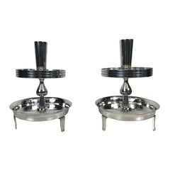 Pair of Stylized Tiered Silver plated Candleholders by Tommi Parzinger