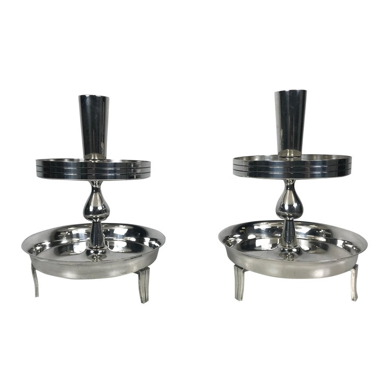 Pair of Stylized Tiered Silver plated Candleholders by Tommi Parzinger For Sale
