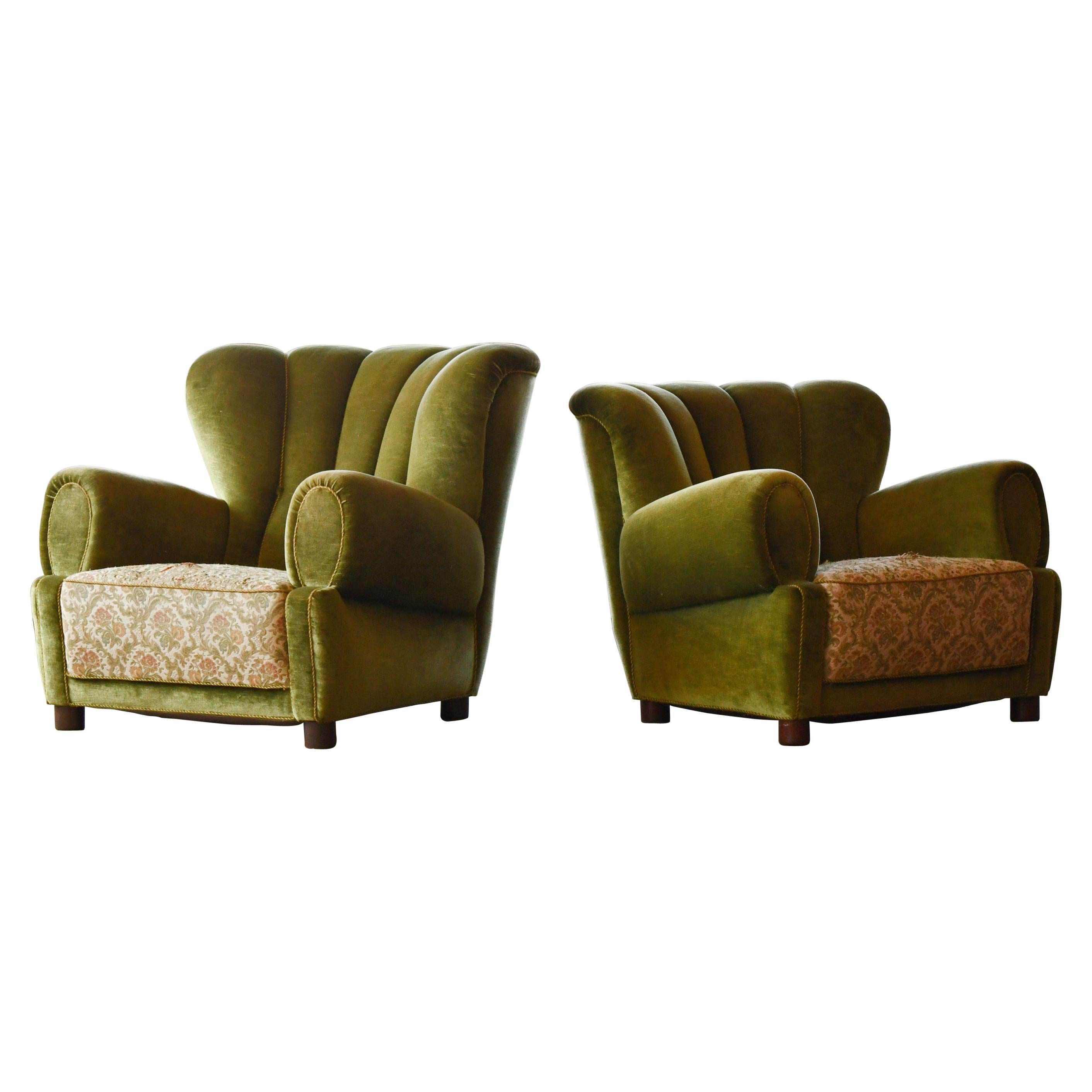 Pair of Sublime Danish 1940's Large Scale Club Chair Sin Style of Fritz Hansen
