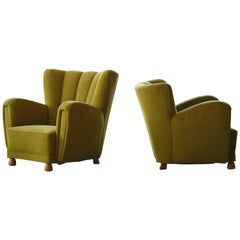 Pair of Sublime Danish 1940s Large Scale Club or Lounge Chairs