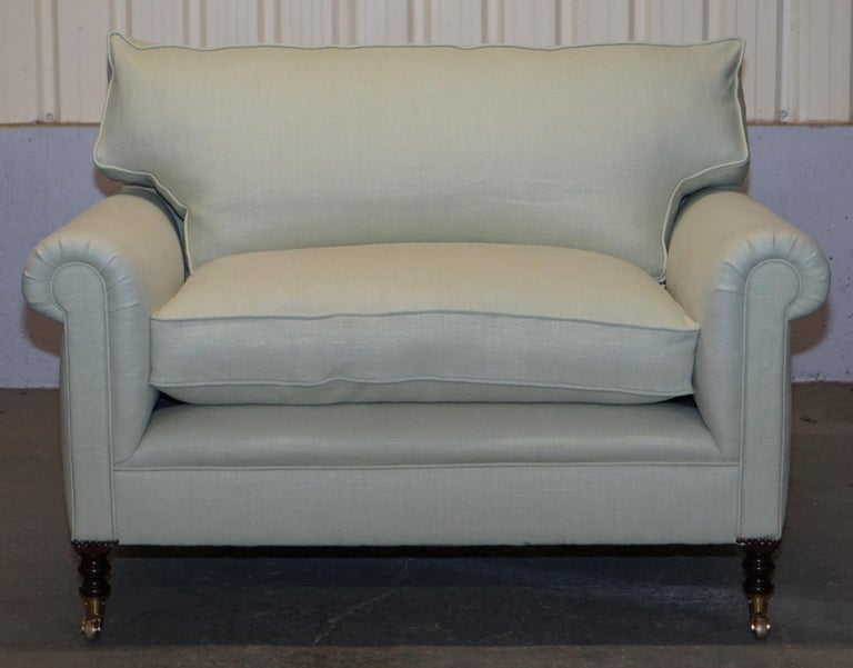 Art Deco Pair of Sublime George Smith Signature Scroll Arm Love Seat Armchairs Linen For Sale