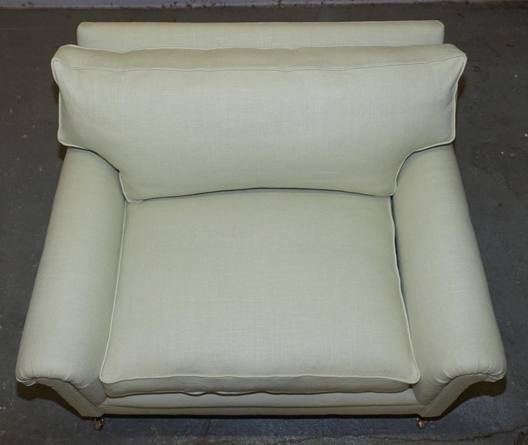 Pair of Sublime George Smith Signature Scroll Arm Love Seat Armchairs Linen In Excellent Condition For Sale In London, GB