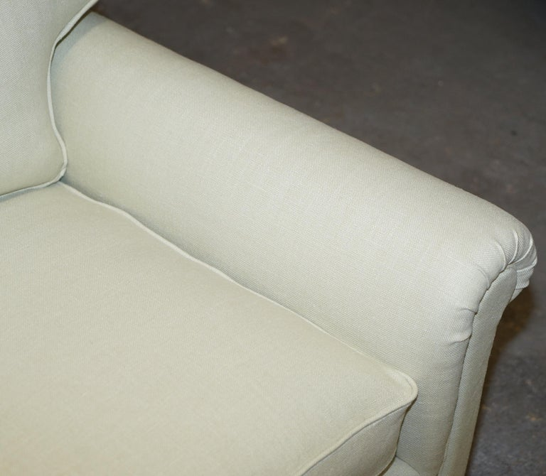Mohair Pair of Sublime George Smith Signature Scroll Arm Love Seat Armchairs Linen For Sale