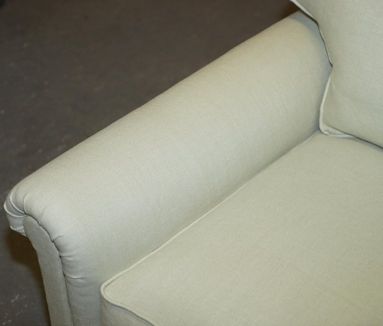 Pair of Sublime George Smith Signature Scroll Arm Love Seat Armchairs Linen For Sale 1