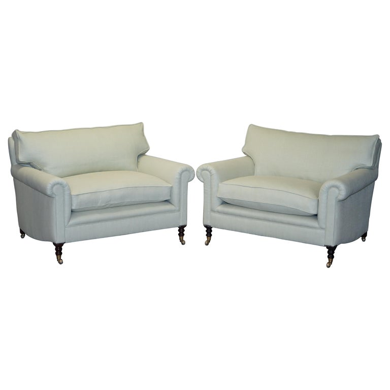Pair of Sublime George Smith Signature Scroll Arm Love Seat Armchairs Linen For Sale