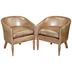 Pair of Sublime Hand Dyed Barrel Back Tub Armchairs in Brown Leather Comfortable