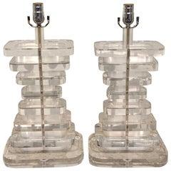 Pair of Substantial Lucite Column Lamps
