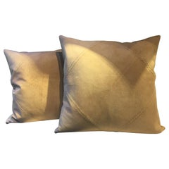 Pair of Suede Leather Cushions Color Sand Hand Saddle Stitched Rhombus Detail