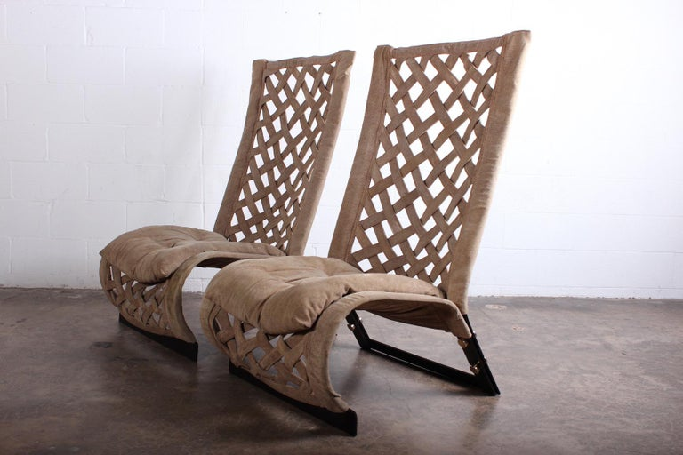 Pair of Suede Lounge Chairs by Marzio Cecchi For Sale 6