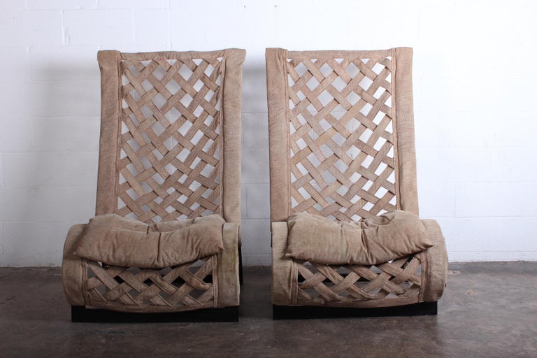 Pair of Suede Lounge Chairs by Marzio Cecchi For Sale 7