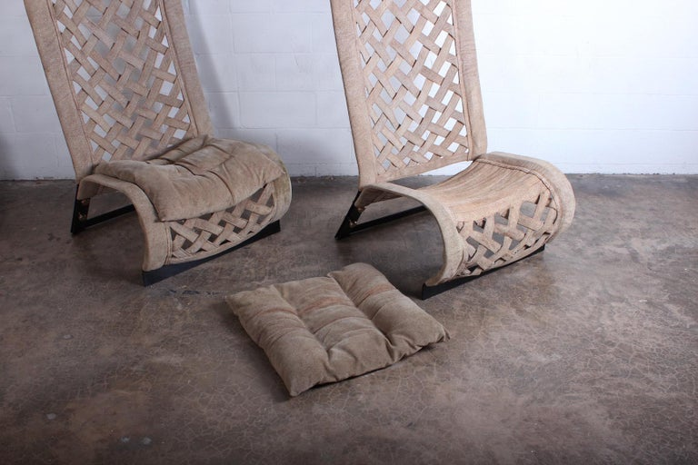 Pair of Suede Lounge Chairs by Marzio Cecchi For Sale 8