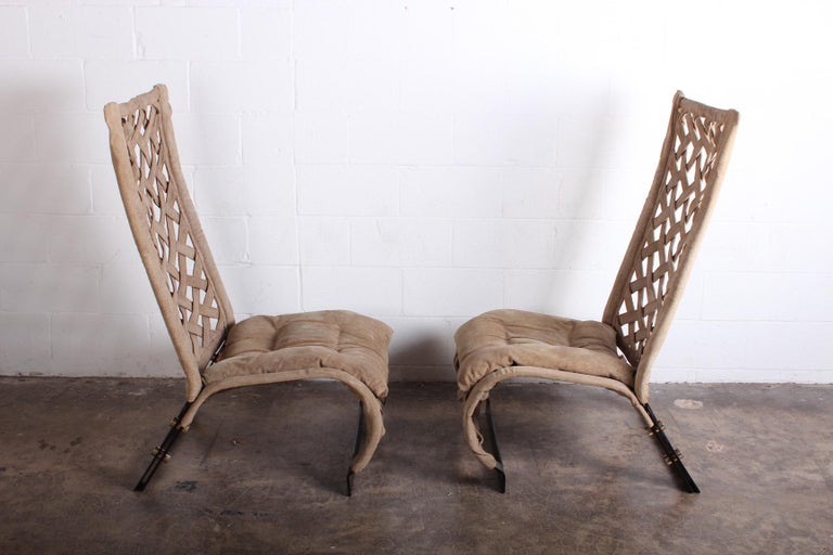 Pair of Suede Lounge Chairs by Marzio Cecchi For Sale 9