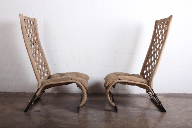 Pair of Suede Lounge Chairs by Marzio Cecchi For Sale 10
