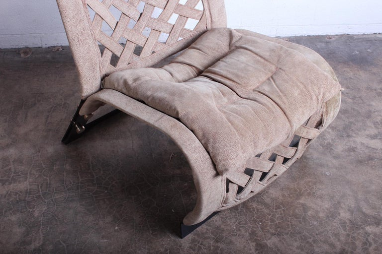 Late 20th Century Pair of Suede Lounge Chairs by Marzio Cecchi For Sale