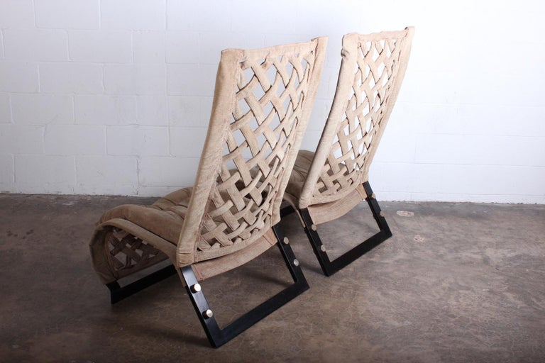 Pair of Suede Lounge Chairs by Marzio Cecchi For Sale 3