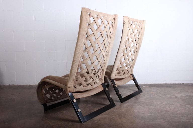 Pair of Suede Lounge Chairs by Marzio Cecchi For Sale 4