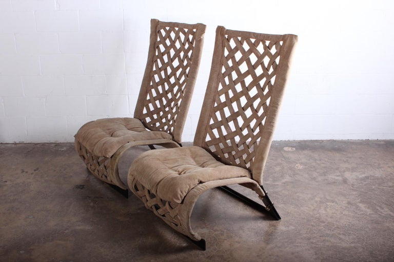Pair of Suede Lounge Chairs by Marzio Cecchi For Sale 5