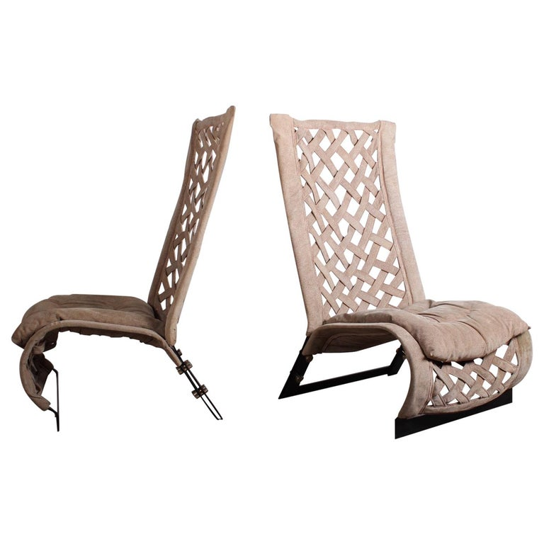 Pair of Suede Lounge Chairs by Marzio Cecchi For Sale