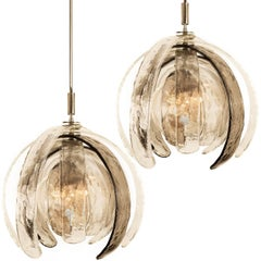 Pair of Sculptural Artichoke Chandeliers by Carlo Nason for Mazzega, Italy