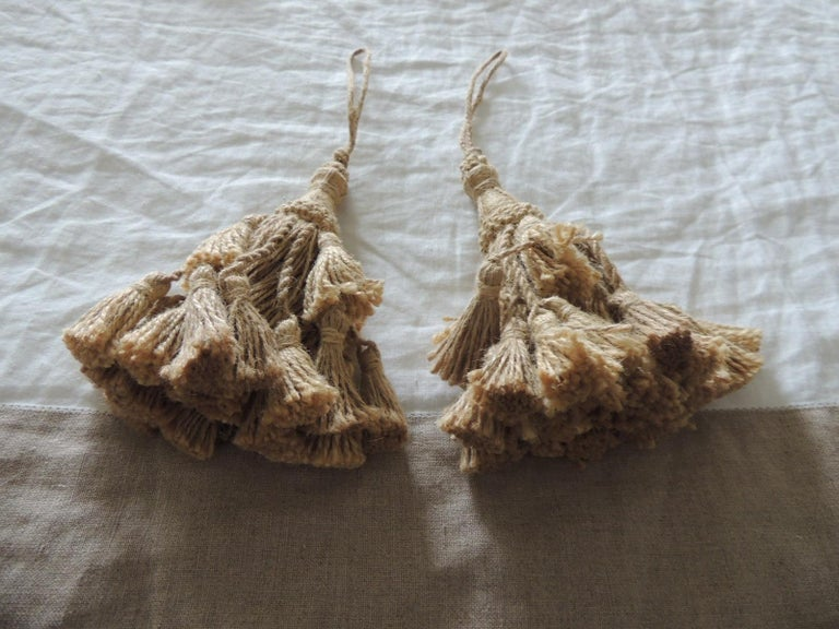 Asian Pair of Summer Jute and Twine Tassels on Rope For Sale