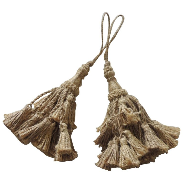 Pair of Summer Jute and Twine Tassels on Rope For Sale