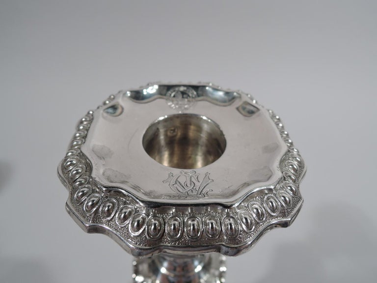 Napoleon III Pair of Sumptuous French Classical Silver Candlesticks by Odiot