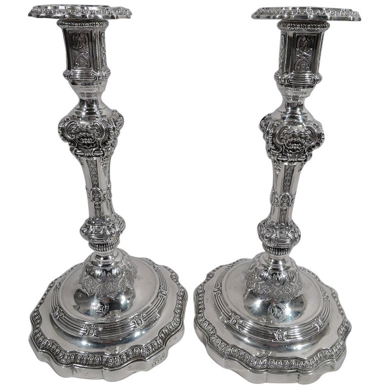 Pair of Sumptuous French Classical Silver Candlesticks by Odiot