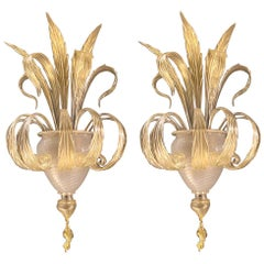 Pair of Sumptuous Gold Murano Glass Leave Wall Sconces