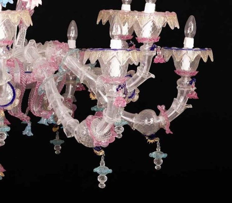 Italian Pair of Sumptuous Pink and Heavenly Murano Glass Chandeliers, 1990s For Sale