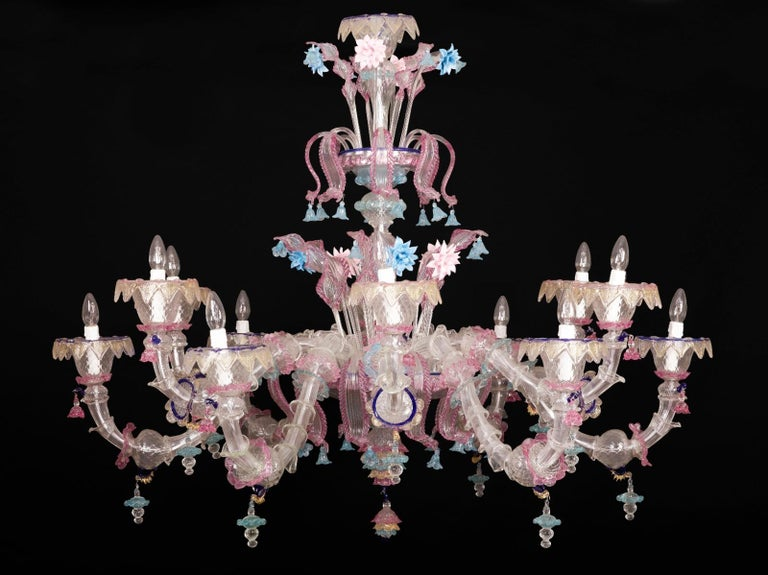 Late 20th Century Pair of Sumptuous Pink and Heavenly Murano Glass Chandeliers, 1990s For Sale