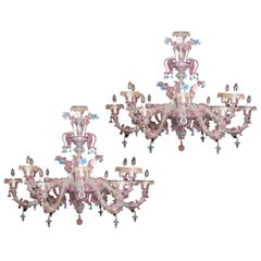 Pair of Sumptuous Pink and Heavenly Murano Glass Chandeliers, 1990s