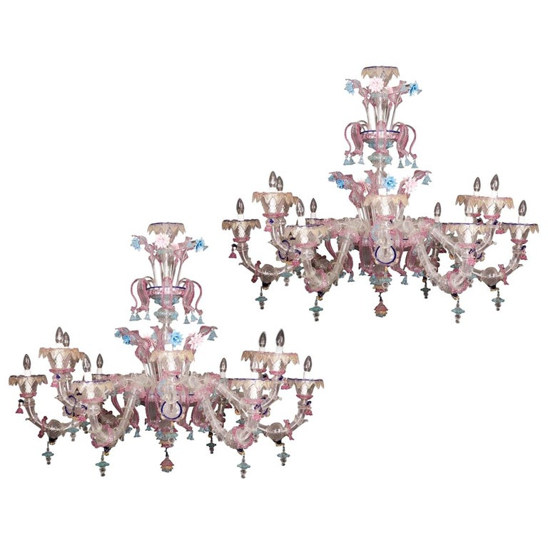 Pair of Sumptuous Pink and Heavenly Murano Glass Chandeliers, 1990s For Sale