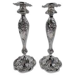 Pair of Sumptuous Shiebler Art Nouveau Sterling Silver Candlesticks