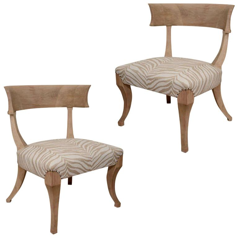 Pair of Sun-Bleached Klismos Chairs For Sale