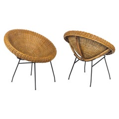Pair of Sun Chairs in Wicker and Black Metal, 1950s