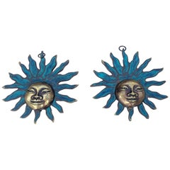 Pair of Sun Gods Wall Decoration