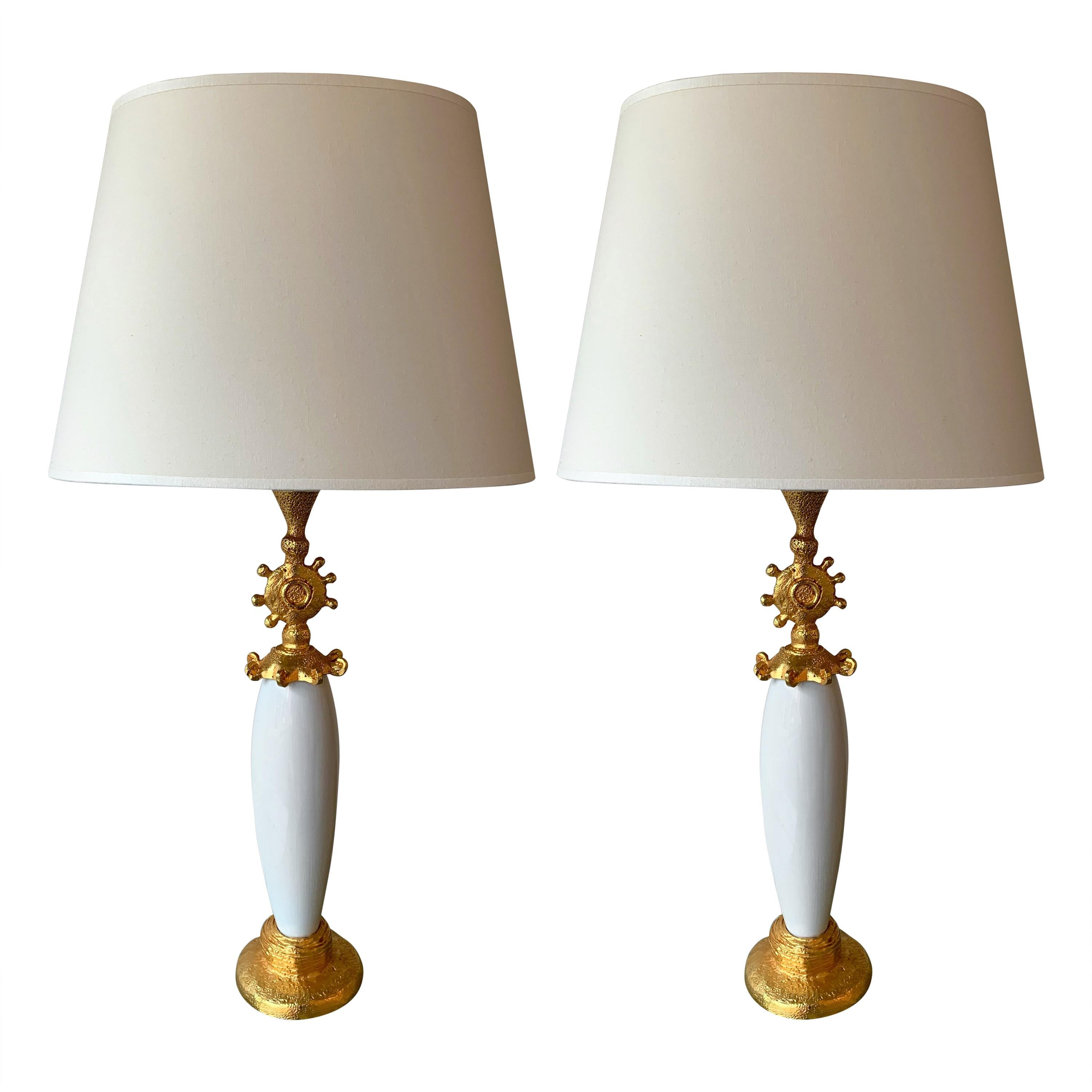 Pair of Sun Lamps Ceramic Gilt Metal by Pierre Casenove for Fondica