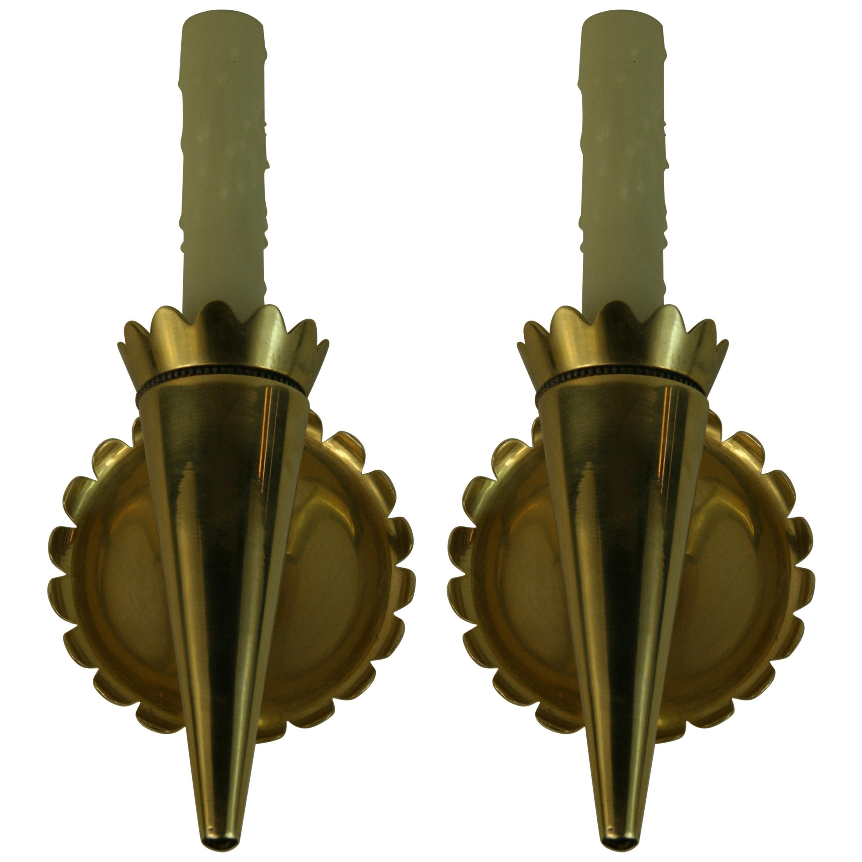 Pair of Sunburst Brass Sconces