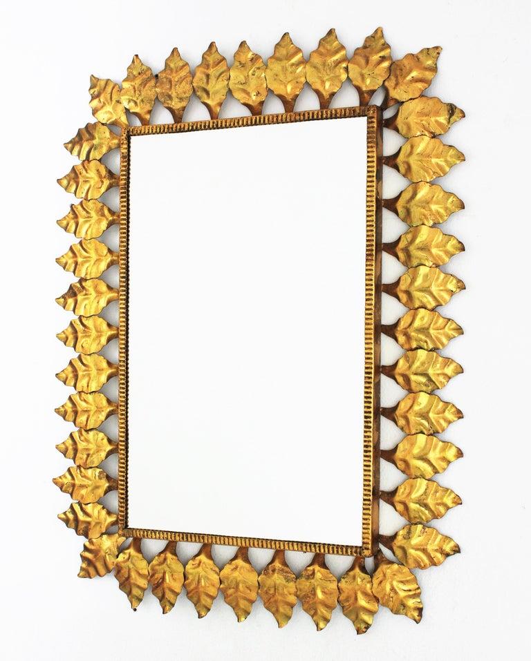 Pair of Sunburst Rectangular Mirrors in Gilt Iron For Sale 7