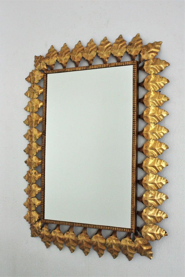 Pair of Sunburst Rectangular Mirrors in Gilt Iron For Sale 8