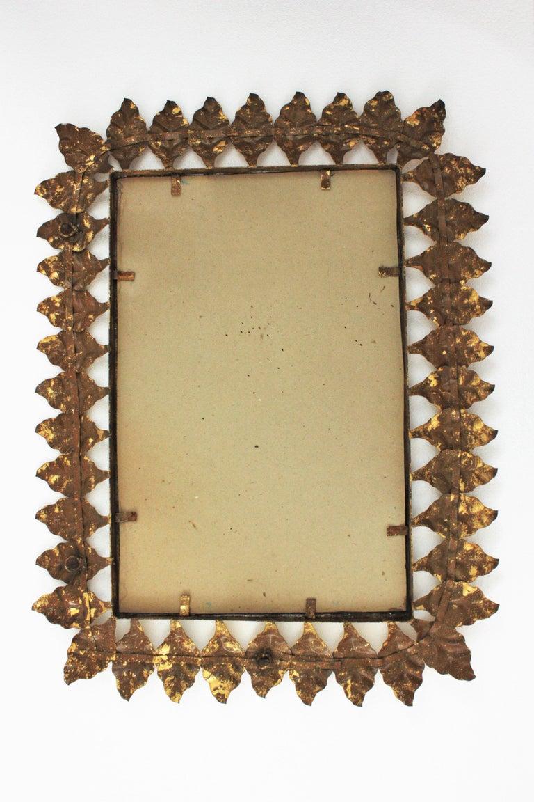 Pair of Sunburst Rectangular Mirrors in Gilt Iron For Sale 10