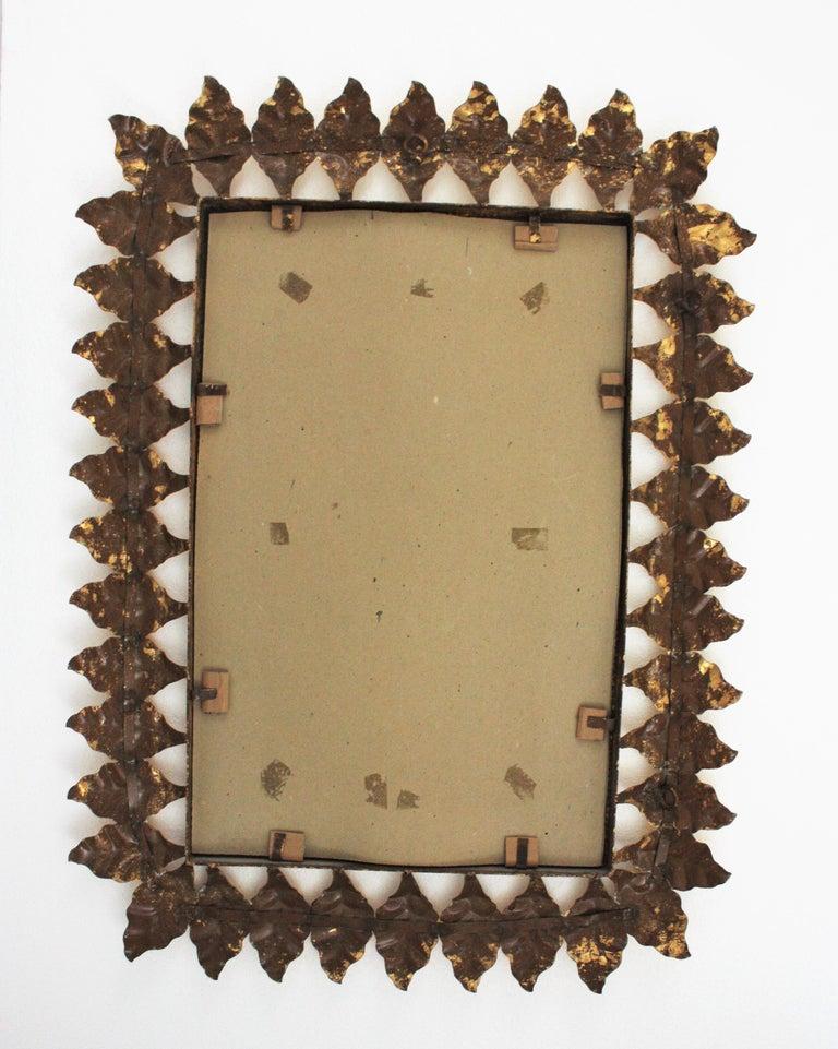 Pair of Sunburst Rectangular Mirrors in Gilt Iron For Sale 11