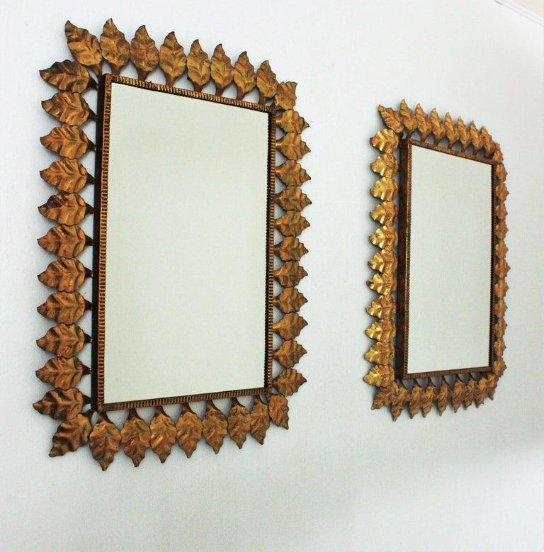 Pair of Sunburst Rectangular Mirrors in Gilt Iron For Sale 12