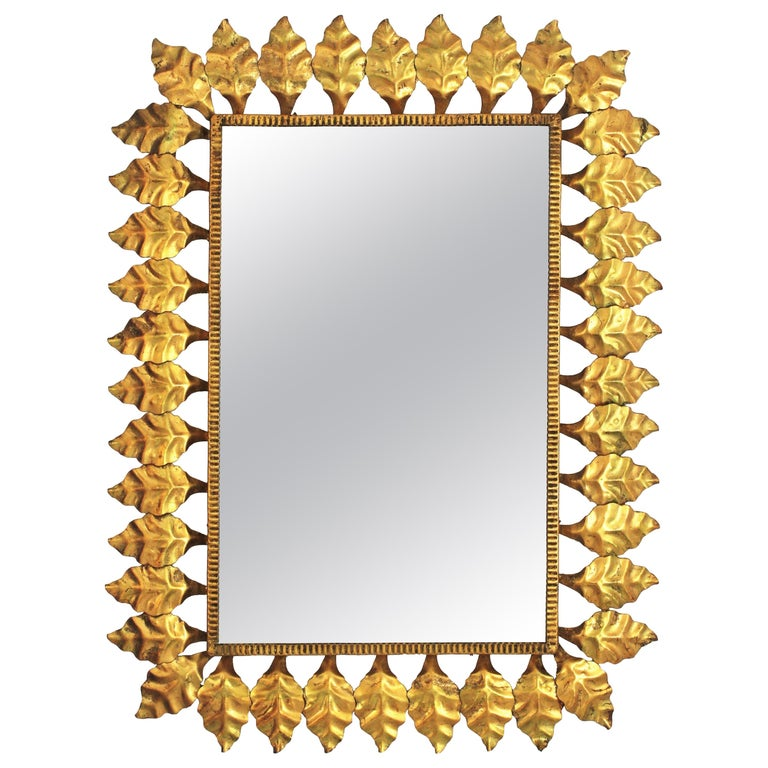 Mid-Century Modern Pair of Sunburst Rectangular Mirrors in Gilt Iron For Sale