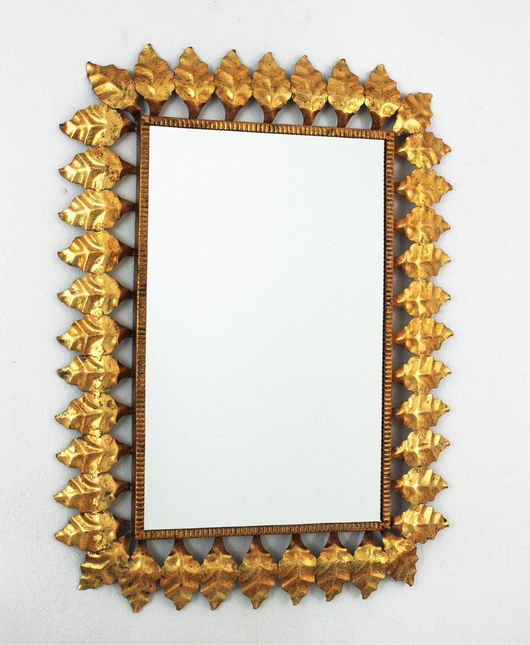 20th Century Pair of Sunburst Rectangular Mirrors in Gilt Iron For Sale