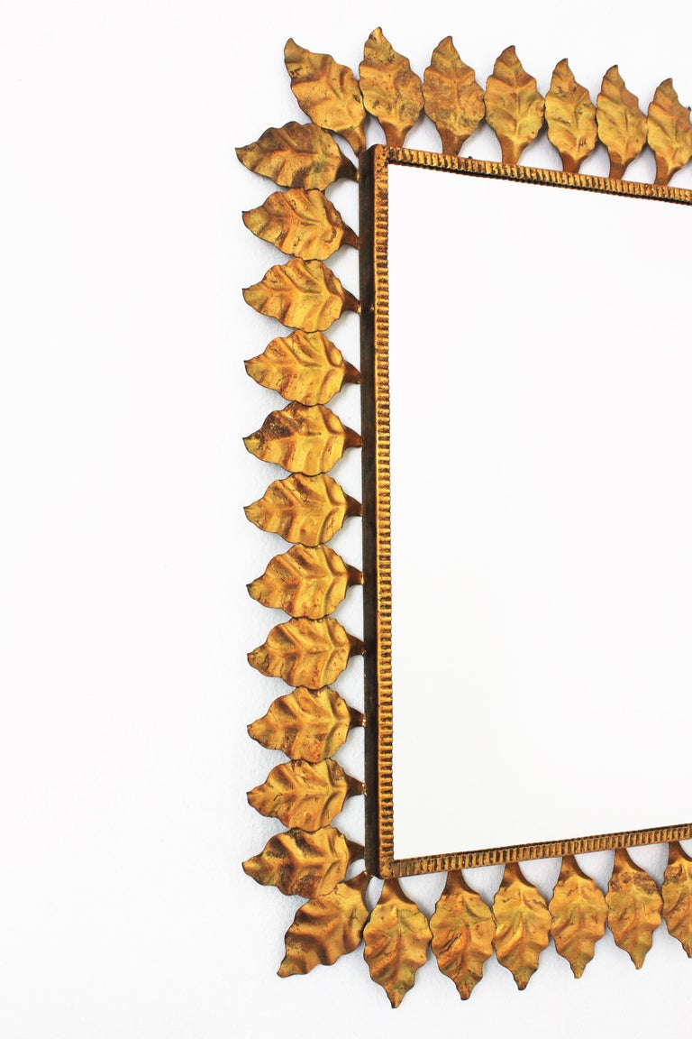 Pair of Sunburst Rectangular Mirrors in Gilt Iron For Sale 1