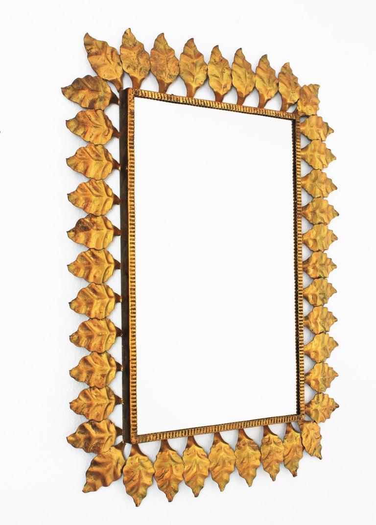 Pair of Sunburst Rectangular Mirrors in Gilt Iron For Sale 2