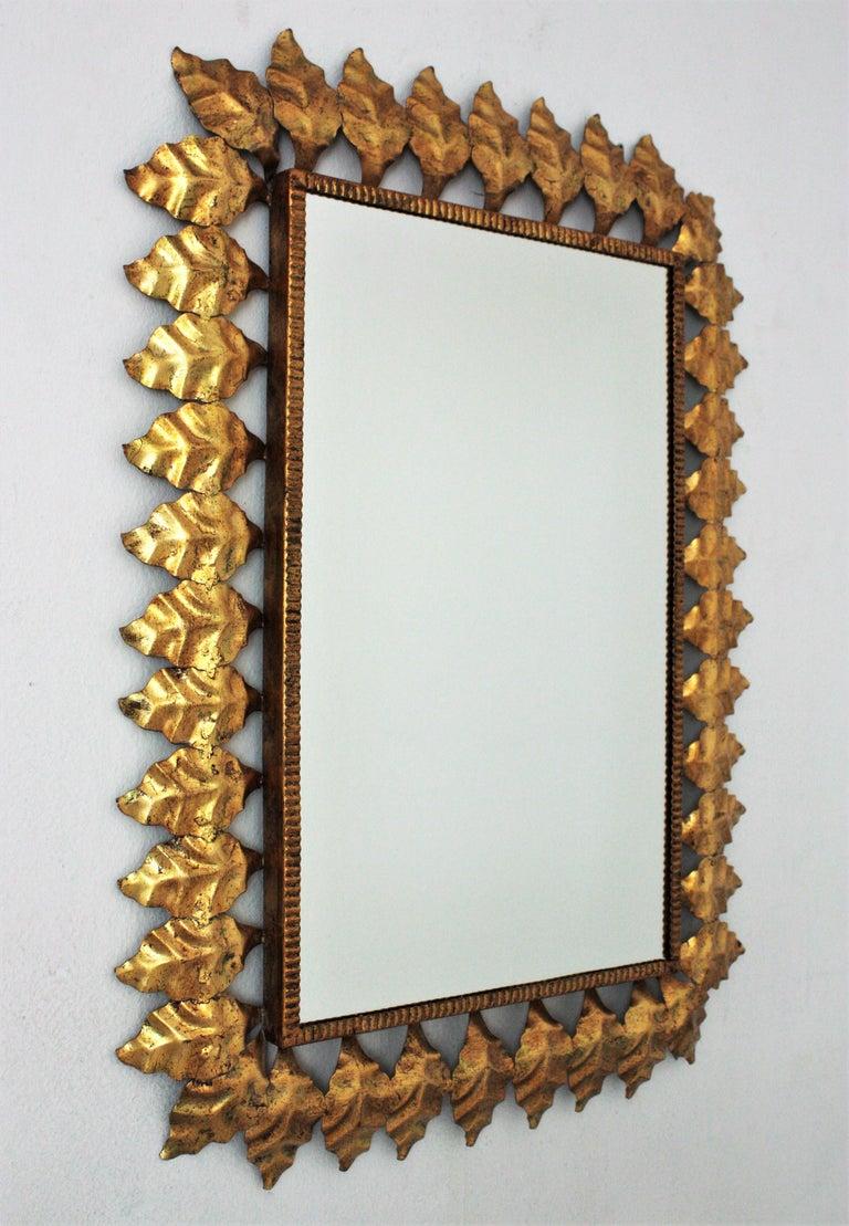 Pair of Sunburst Rectangular Mirrors in Gilt Iron For Sale 3
