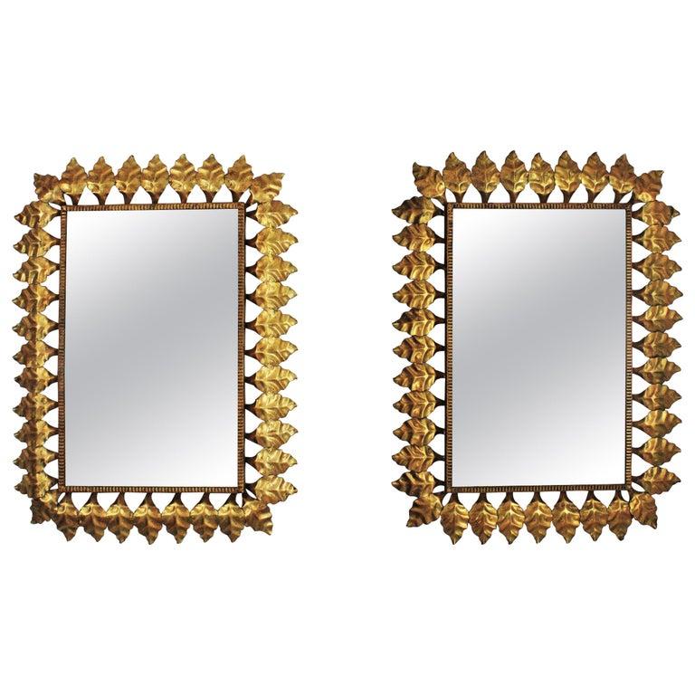 Pair of Sunburst Rectangular Mirrors in Gilt Iron For Sale