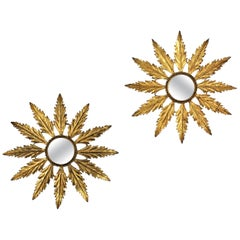 Pair of Sunburst Wall Mirrors in Gilt Iron, Hollywood Regency Period